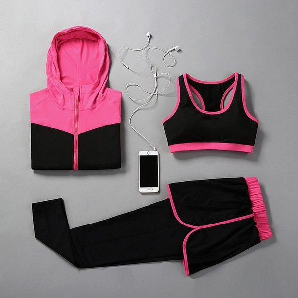 Женская йога из трех частей бега спортивные костюмы топы женские шорты модные удобные тонкие тройка жилет брюки куртка