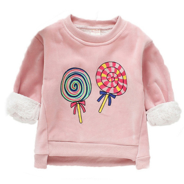 Baby Clothes For Girl Long Sleeve Cartoon Print Baby Girl Sweater Top Winter Warm Plus Velvet Kids Clothes Pullover