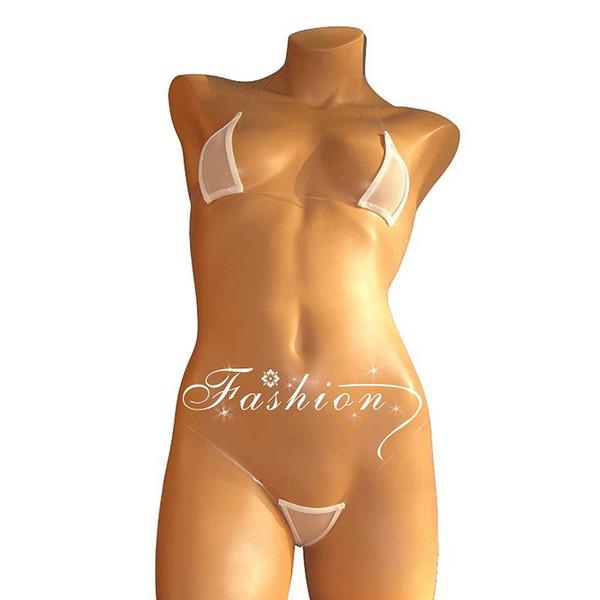 Femmes Sexy Mini Micro Bikini Set Extreme Triangle transparent et haut de plage Maillot de bain Bas G-string Sous-vêtements String Lingerie