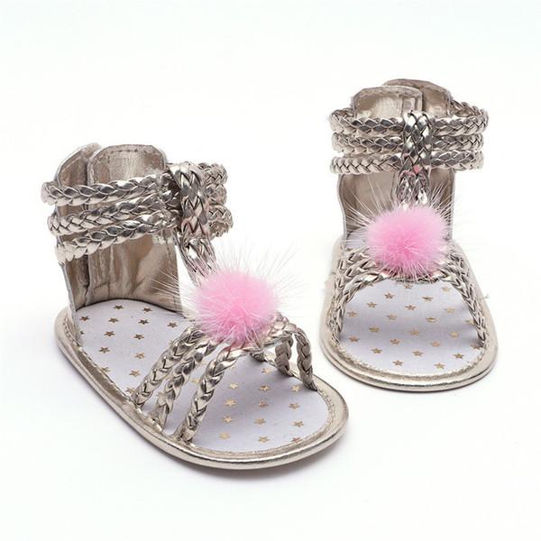 Summer Baby Girl Sandals Toddler Newborn Baby Girls Roman Sandals Cute Ball Shoes Anti-slip Soft Sole Shoes NDA84L30