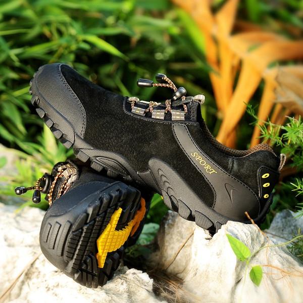 Großhandel Goldene Schössling Camping Turnschuhe Herren Wanderschuhe Atmungsaktive Leder Wasserdichte Schuhe Männer Berg Trekking Outdoor Schuhe Mann