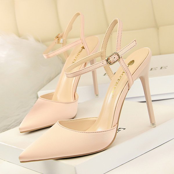 European style Simplicity Women's Shoes Fine heel High-heeled Silk and satin Shallow mouth Cusp sexy Nightclub Skinny Word belt Sandals