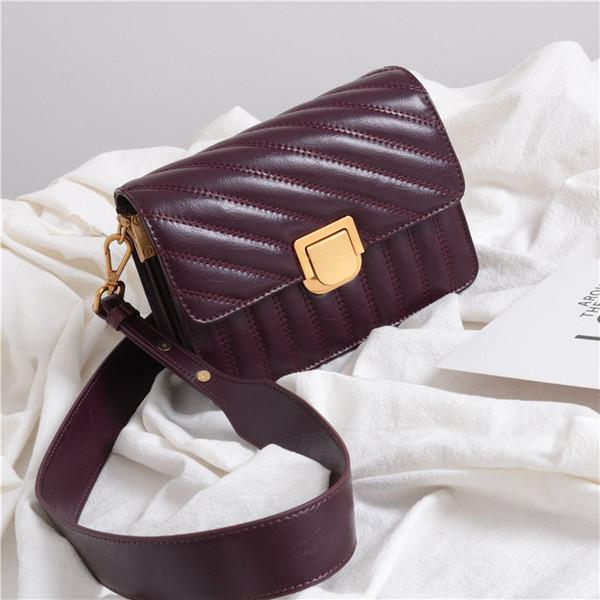 2019 New Women Lady Genuine Leather Cowhide Thread Designer Burgundy Handbags Flap Shoulder Bag Crossbody Messenger Bags S083