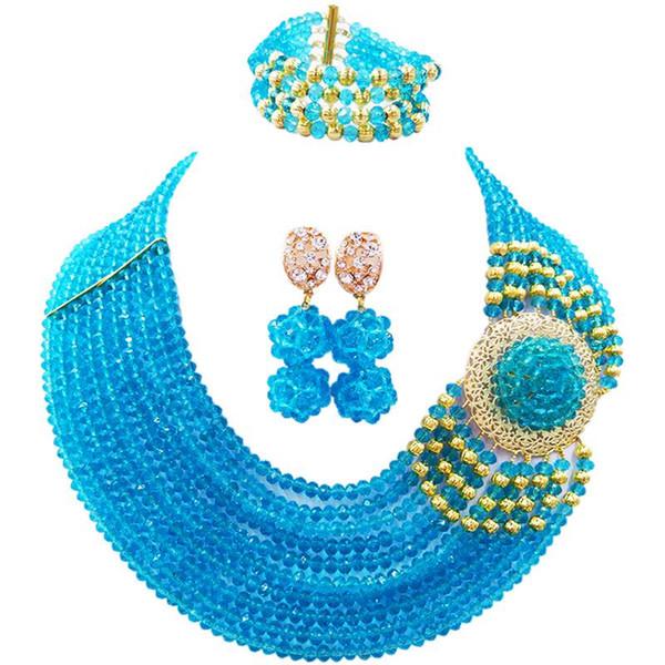 Красивое озеро синий подарок на годовщину женщины Кристалл бусины ожерелье серьги браслет наборы 10C-DPH-13