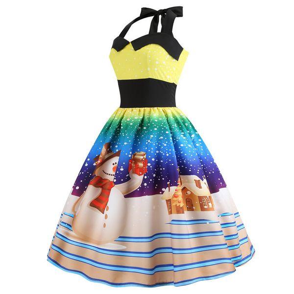 Dress women Casual Christmas Tree Women Robe Rockabilly Swing Pinup Vestido Patchwork Elegant Party Dress designer clothes