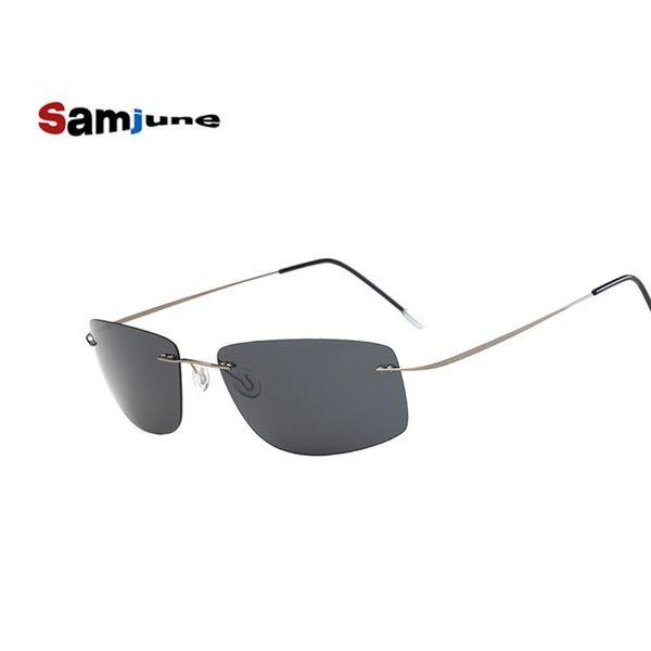 2018 Samjune gafas de sol polarizadas de titanio Polaroid Brand Designer Gafas Hombre gafas de sol cuadradas gafas de sol para hombres mujeres