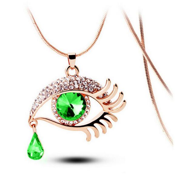 Halsband Halskette Für Frauen Frauen Aussage Halsketten Großhandel Modeschmuck Edelsteine Blaue Augen Wimper Reißen Anhänger Halskette