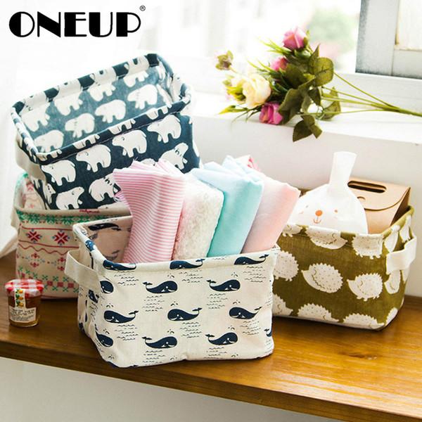 wholesale DIY Cute Printing Desktop Storage Basket Organizer Cotton Linen Makeup Sundries Storage Box Cabinet Underwear Storage