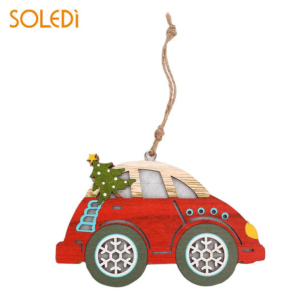 Car Lamp Plate Christmas Tree Restaurant Unique 3D Glowing Car Hanging Creative Kids Wooden Luminous Pedant Festival
