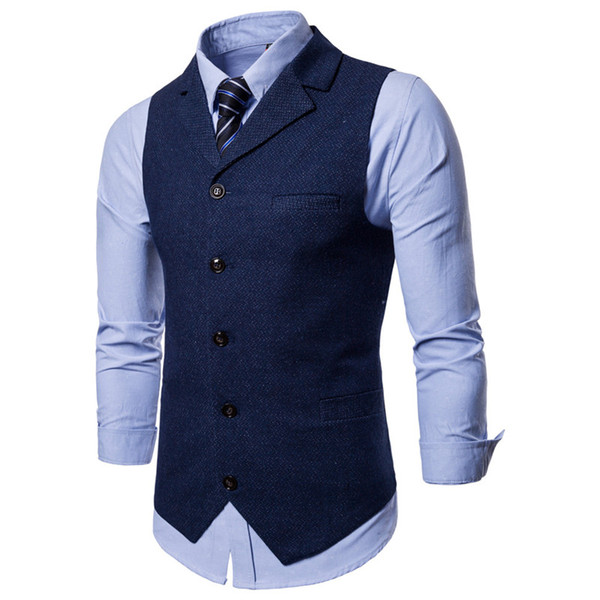 2018 New Fashion Dress Vests For Men British Single-breasted Men's West Body Vest Men Waistcoat Gilet Homme Vests For Male