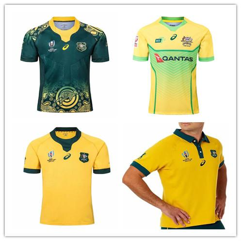Coupe du monde de rugby 2019 WALLABIES INDIGENUS Maillots de rugby australien RLWC 2019 2020 Kangourous 18 19 Maillots de l'équipe nationale d'Australie taille S-3XL