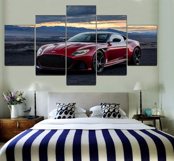 Aston Martin DBS Superleggera Red Sport Car,5 Pieces Canvas Prints Wall Art Oil Painting Home Decor (Unframed/Framed)