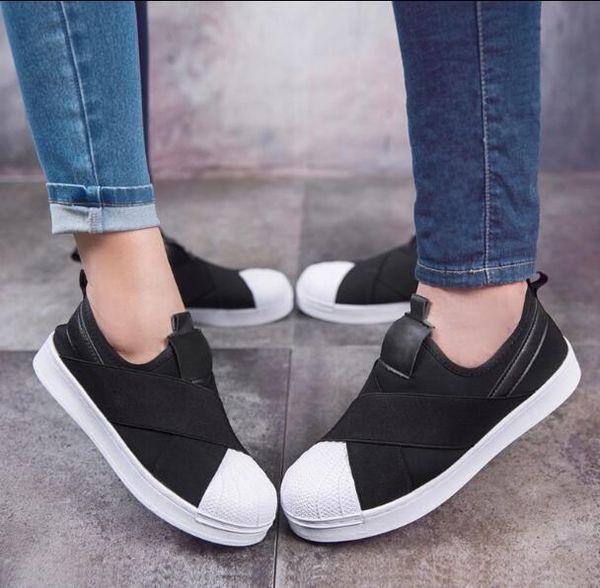 Envío gratis Precio de fábrica Verano Y3 Hombres Mujeres Shell Toe Negro Blanco Zapatos transpirables bajos Superstar Slip On Crossed Strap Casual Shoes 21