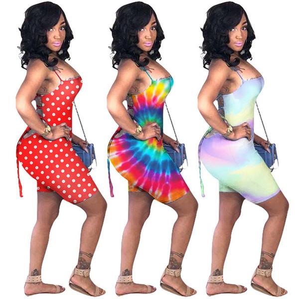 Summer Women Dot Rainbow Tuta in capo stampa tinta unita Gallus Top Backless Coulisse maglia senza maniche Streetwear Pagliaccetto Pantaloni Clubwear A41701