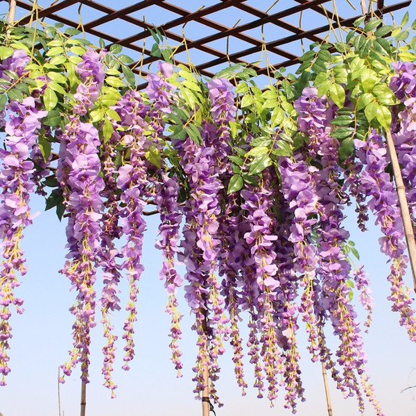 Luyue 12pcs/lot Wedding Decor Artificial Silk Wisteria Flower Vines Hanging Rattan Bride Flowers Garland For Home Garden Hotel Q190522