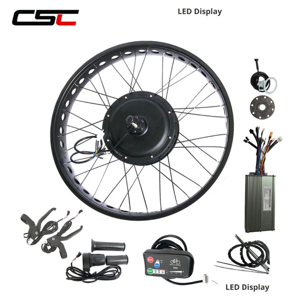 20'' 24'' 26'' x 4.0 wide fat tire electric bike conversion kit Snow Beach e bicycle 48v 1000W LED display Hub Motor Front or Rear Wheel Kit