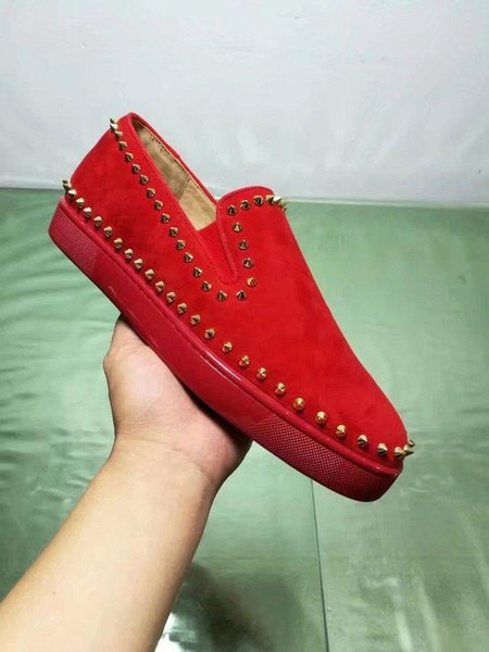 Designs Mode de Spike Mocassins Robe Chaussures Bas Rouge Sneaker Party Luxe Chaussures de mariage en cuir véritable Spikes Lacets Casual A2