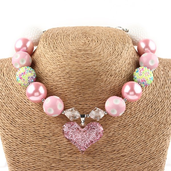 20mm Beads Lovely Children Pink Beaded Chunky Necklace Fashion Bubblegum Jewelry For Kids Pendant Necklace