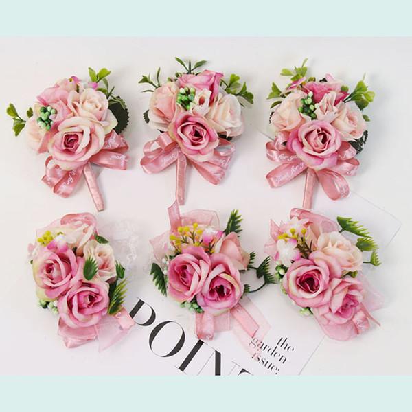Hecho a mano rosa muñeca ramillete dama de honor hermanas mano flores creativas Artificial novia flores para el banquete de boda decoración nupcial Prom