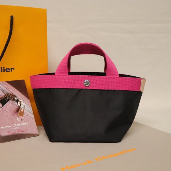 Alta qualidade do couro mulheres da lona saco senhoras saco de compras de moda Herve Bag chapelier ombro 701C