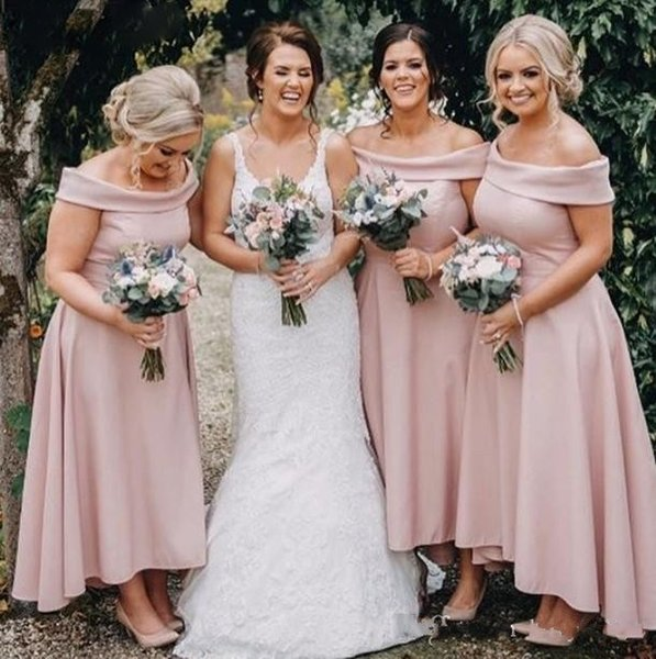Blush Pink Bridesmaid Dresses A Line Off Shoulder Ankle Length Satin Backless Maid Of Honor Dress 2019 Party Cocktail Wedding Guest Dress