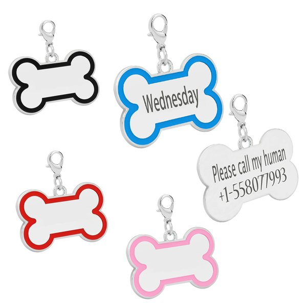 Personalized Dog ID Tag Stainless steel Bone Shape Customized Engraved Front and Back Tag for Small Medium Large Dogs