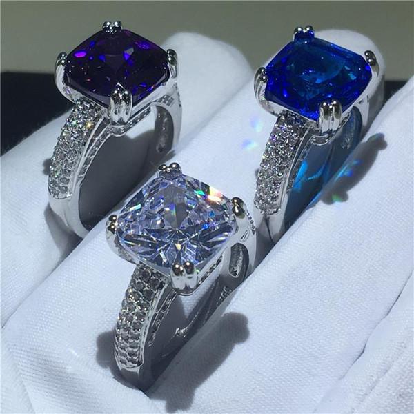 2019 3 цвета Кольцо ручной работы Cushion cut 4ct Cz Камень Стерлингового Серебра 925 обручальное кольцо для женщин обручальное кольцо