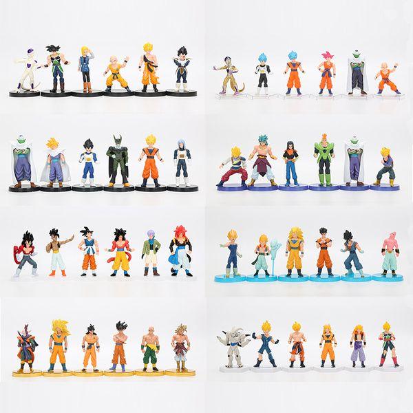 Dragon Ball Z 6pcs / Kakarotto PVC Action Figure oyuncaklar Noel uub 12cm anime Dragon Ball Z Super Saiyan Sandıklar vegeta Son Goku set