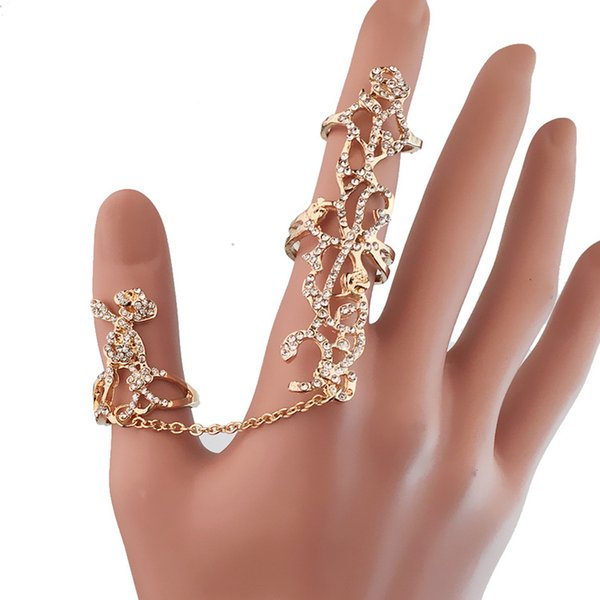 2 color European and American conjoined personality ring rose water drill insert drill hollowed out one hand decoration can adjust ring
