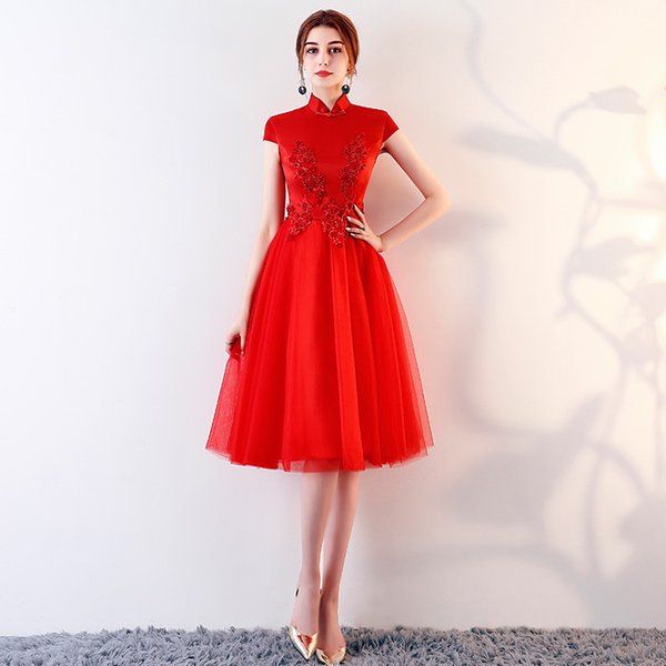MB027 Sexy Wedding Gown Short Long Red Prom Dresses Formal Party Dress For Graduation Embroidery Robe De Soiree Formal Gowns