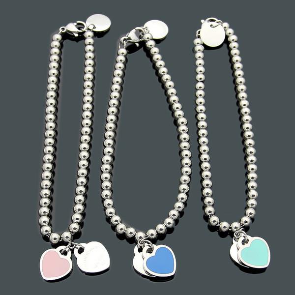 2019 marque Design Titane Acier Double Perles T Double Coeur De Pêche Bracelet Drop huile rose vert bleu bracelet d'amour bracelets en or pour les femmes