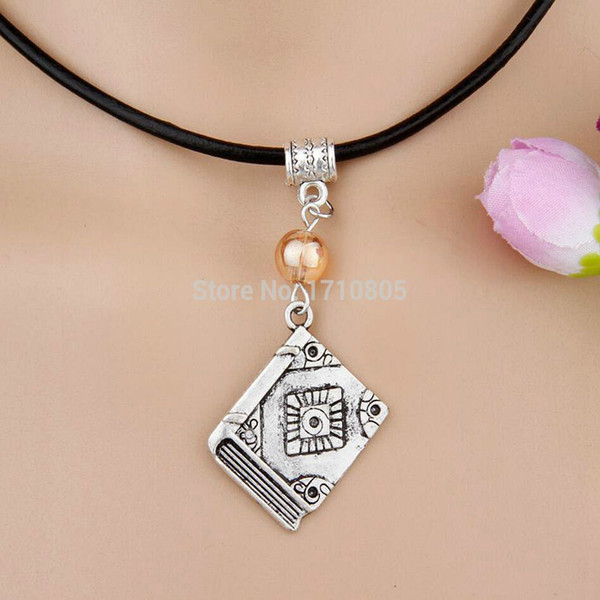 Hot 10pcs Alloy Ancient Silver Bible Book Multicolor Glass Bead Charm Pendant Leather Rope Necklace Women Jewelry Valentine's Day Present