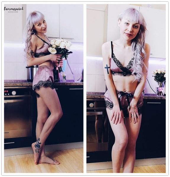 Розовый пижама Set Color Block Scalloped Ресницы Спагетти ремень Crop Cami Top женщин и Short пижама Set