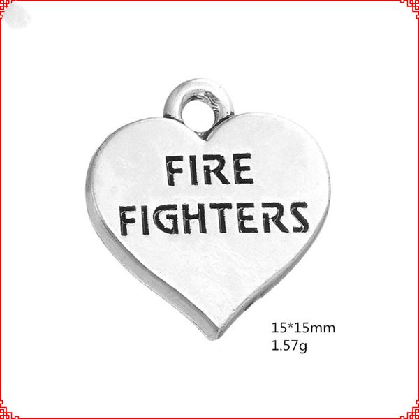 30pcs antique vintage tibétain argent coeur pompiers charmes pendentifs en métal pendentif en alliage pour collier bracelet boucle d'oreille bricolage fabrication de bijoux