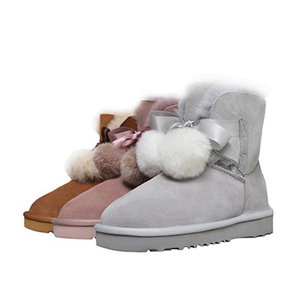 Large Size winter Women's shoes sweet flat bottom fashion versatile comfortable warm sheep fur snow boots