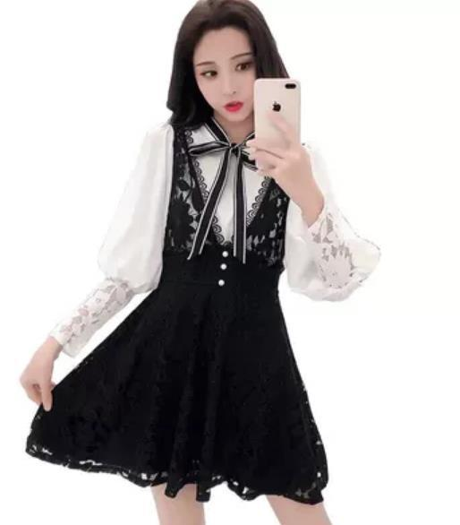 Весна новый западный стиль из двух частей платье корейский рубашка кружева высокой талией ремень неопрятный юбка костюм женщины