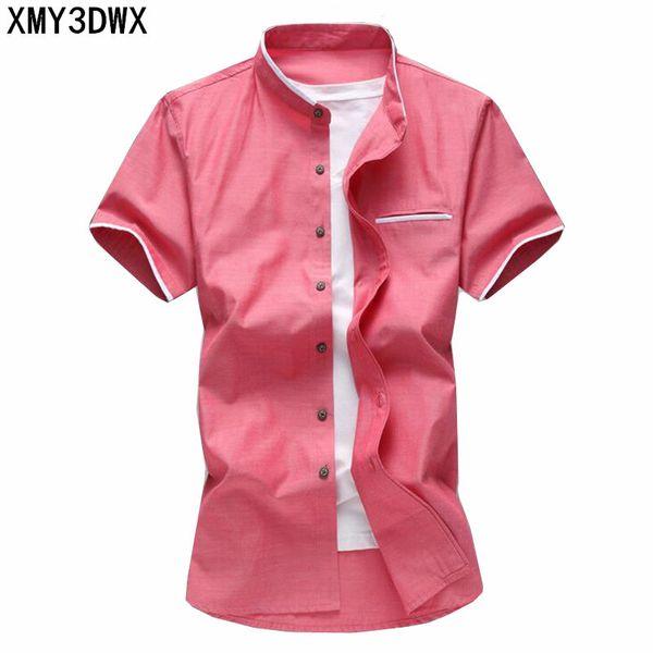 Erkek Gömlek Yaz Büyük Boy Oxford Kumaş Iş Rahat Kısa Kollu Gömlek Erkek Düz Renk Moda Marka 5XL 6XL 7XL