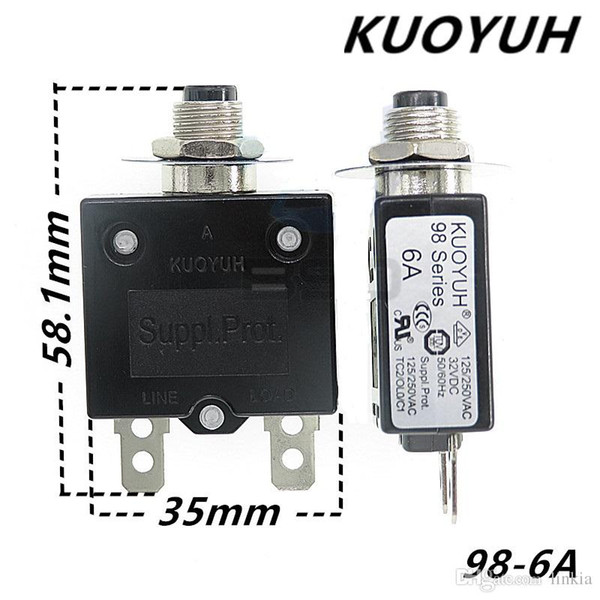 top popular Taiwan KUOYUH 98 Series-6A Overcurrent Protector Overload Switch 2021