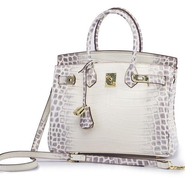 Großhandel Promi BK Stil Himalaya Niloticus Croco Crocodile Geprägte Echte Togo Leder Top Griff Tasche Messenger Damen Handtasche Für Frauen Von