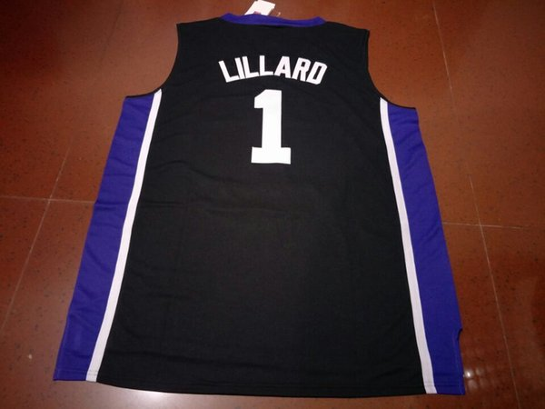 best selling high quality #1 DAMIAN Lillard Weber State HIGH SCHOOL basketball jerseys Retro Purple black white or custom any name or number jersey