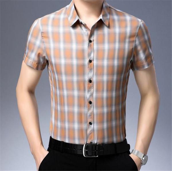 Diseñador de impresión a cuadros de lujo para hombre camisas de verano de manga corta de un solo pecho flaco camisas casuales de moda delgado para hombre Tops
