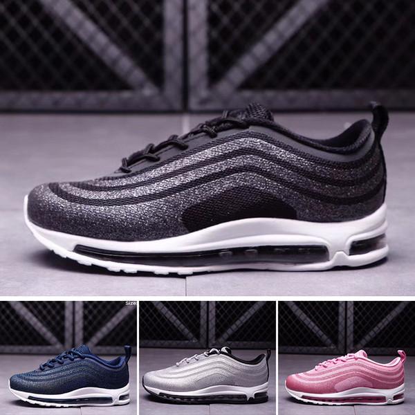 Acheter Nike Air Max 97 Jeunesse Enfants 97 Chaussures Og Triple Blanc Chaussures De Course Garçons Fille Métallique Or Argent Bullet Rose Hommes