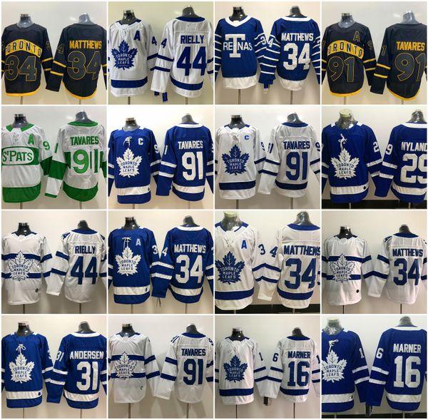 top popular Toronto Maple Leafs Jersey 91 John Tavares C Patch 34 Auston Matthew 16 Mitchell Marner 31 Frederik Andersen 44 Morgan Rielly Hockey Jerseys 2019