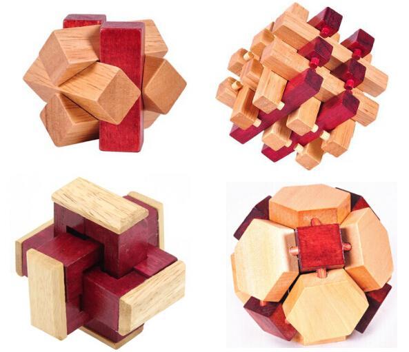 4pcs / set Iq Test En Bois Burr Puzzle Classique Casse-tête En Bois Puzzles Jeu Jouets Pour Adultes Enfants