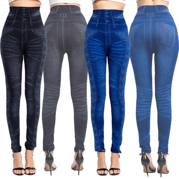 Mulheres Seamless Leggings de Fitness Elastic cintura alta Yoga Pants Leggings imitação Jeans Moda de Slim Gym 2019 mujer