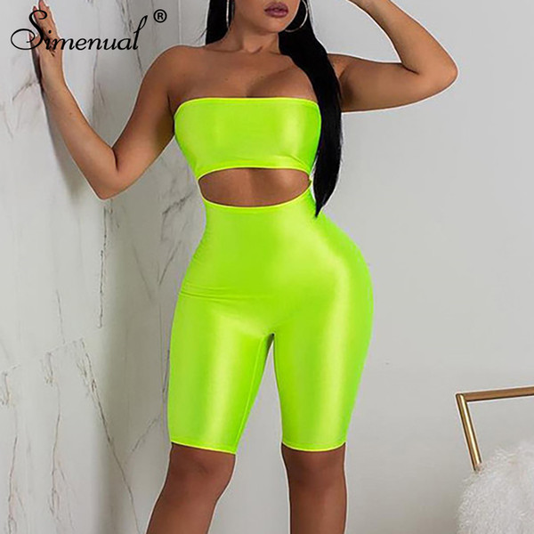 Simenual Off Shoulder Cut Out Playsuits Women Wrapped Chest Push Up Biker Shorts Rompers Neon Color Backless Fitness Jumpsuits Y19051601