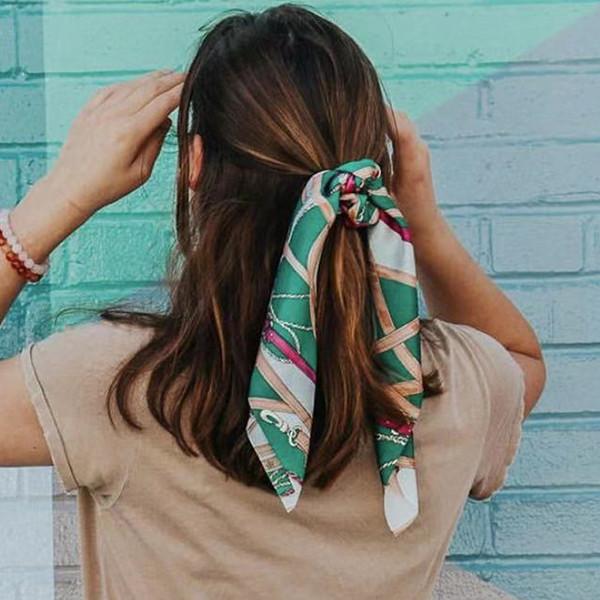 Bandas nueva impresión de la bufanda de la cuerda del pelo de las mujeres de pelo del arco elástico para niñas Cola de caballo corbata de Scrunchie Diademas Accesorios