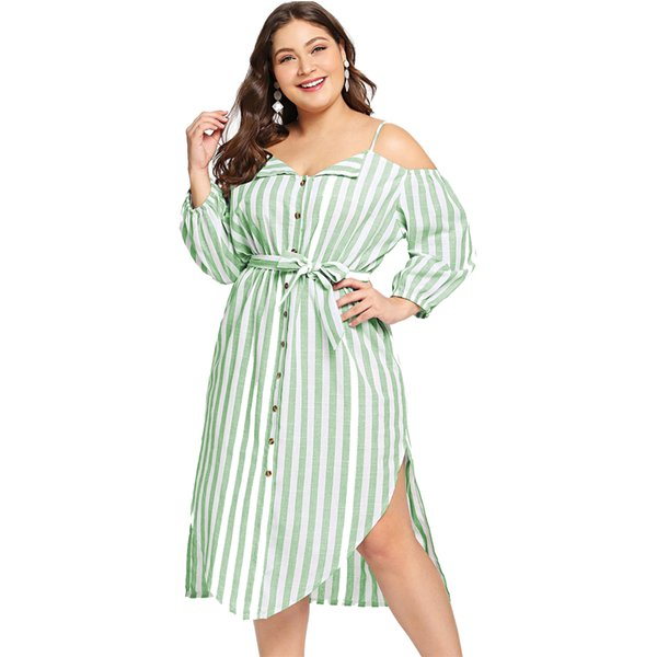 off the shoulder dresses for women v neck midi green striped fashion unique evening daily gift women dress plus size