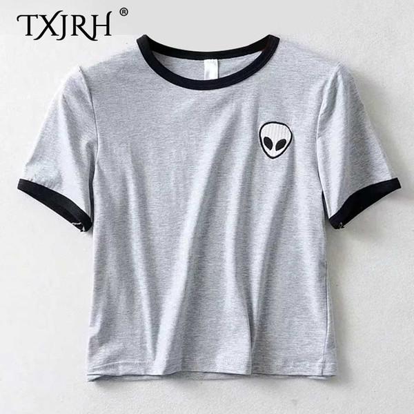 TXJRH 2019 Stylish Alien Print Cartoon Embroidery Slim T-Shirt O-Neck Pullover Trendy Women Short Sleeve Casual Tee Tops 2 Color