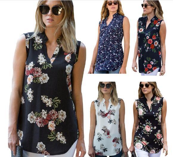 Mode Vintage Blumendruck Bluse Shirt 2019 Sommer Ärmellose Chiffonbluse Sexy V-ausschnitt Frauen Shirts Beiläufige Lose Chemise